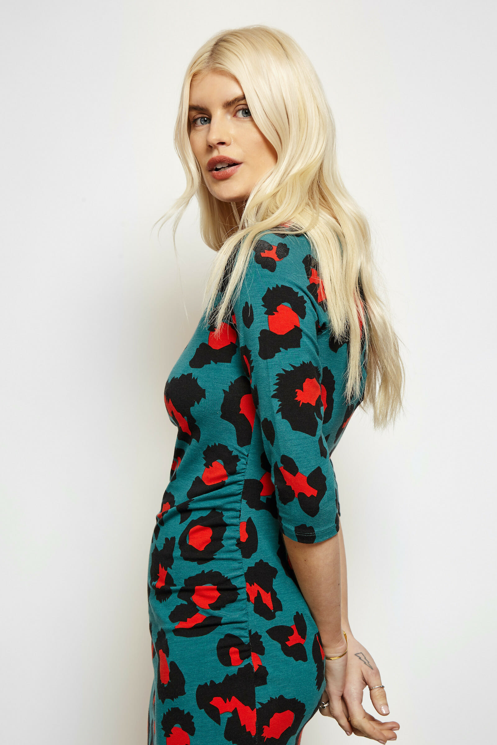Vibrant ECO Green and Red Leopard Print Dress